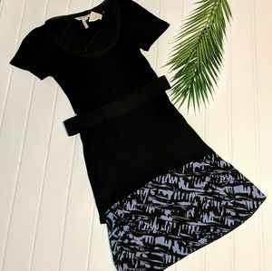 BCBGeneration Black Overlay Dress w/Belt NWT